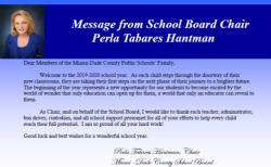 From the Office of School Board Chair, Perla Tabares Hantman